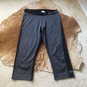 Nike Pro Dri-Fit Bicolor Grey Black Crop Leggings